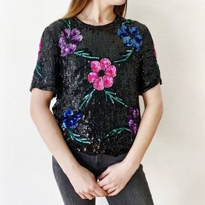 Vintage Black Sequin & Beaded Flower Blouse